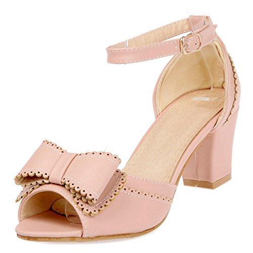 COOLCEPT Mujer Moda Al Tobillo Sandalias Tacon Ancho Zapatos With Bowknot Rosado
