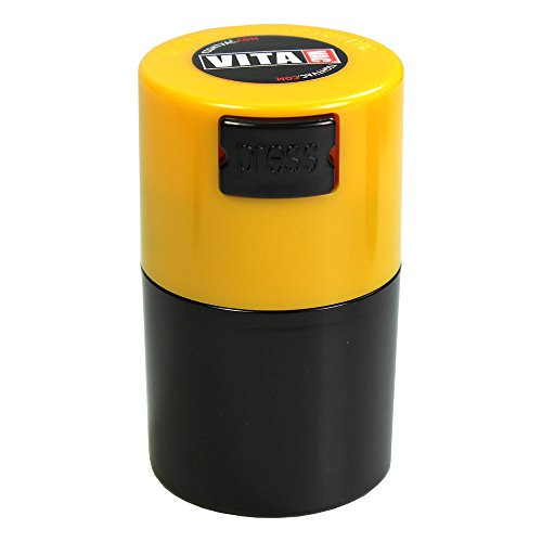 Vitavac - 5g to 20 grams Airtight Multi-Use Vacuum Seal Portable Storage Container for Dry Goods, Food, and Herbs - Yellow Cap & Black Body