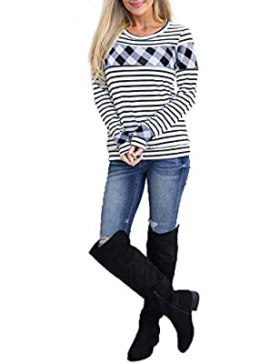Blooming Jelly Women's Long Sleeve Plaid Striped Shirt Color Block Round Neck Top Tee