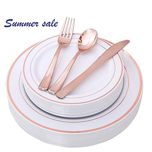 (Disposable 125 Pieces Rose Gold Plastic Silverware Set, Disposable Plastic Plates dinnerware Plastic Place Setting include 25 Dinner Plates, 25 Salad Plates, 25 Forks, 25 Knives, 25 Spoons Rose Gold)