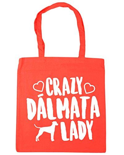 HippoWarehouse Crazy Dálmata Lady Bolso de Playa Bolsa Compra Con Asas para gimnasio 42cm x 38cm 10 litros capacidad Coral