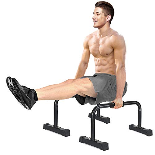 IDEER LIFE Parallettes Push-Up Bar, Ultimate Body Press Parallette Bars, Gym XL Parallette Push up Stand, Upper Body Exercise Equipment w/Large Non Slip Rubber Feet &Removable Handle Grip,14×24 inch