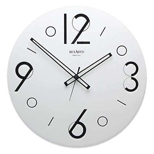REXARTIS(レックスアルティス) ガラス製掛け時計「POINT」 (ホワイト) イタリア製 モノトーン B071RT8YY1ホワイト