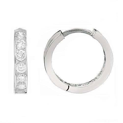 Sterling Silver Cubic Zirconia Huggies Huggy Baby Hoop (Baby Cubic Zirconia Earrings)