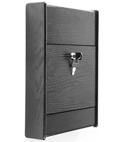 FixtureDisplays Wooden Ballot Box for Tabletop or Wall, Locking Hinged Door - Black -