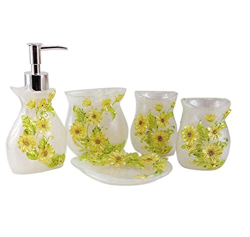 JynXos Resin 5 Pieces Bathroom Accessory Set - White With Sunflower Design Ensemble Bathroom Vanities Home Decor