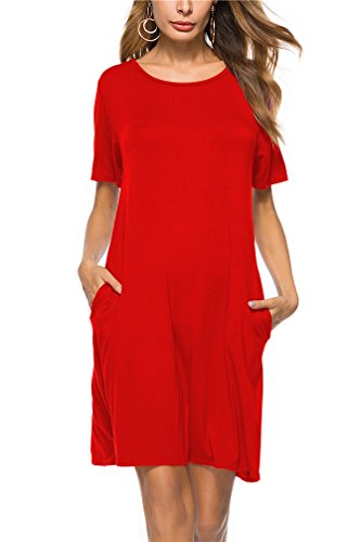 Womens Pockets Trapeze Dress Loose T Shirt Dress Swing Dress Tunic Dress XXL (Red Tunic Dress)