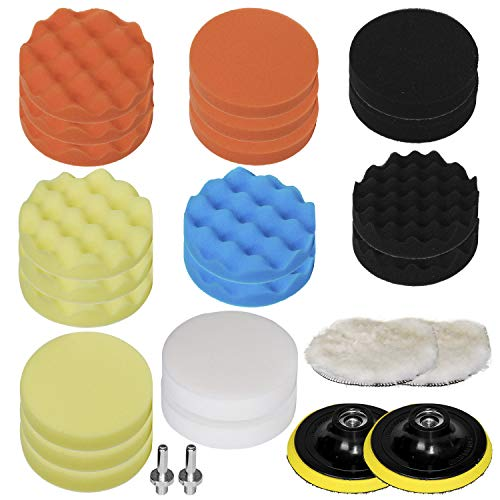 "HIFROM 26pcs 6""/150mm Drill Polishing Pad Buffing Sponge Auto Car Foam Pads Set M14 Drill Adapter With Shank"