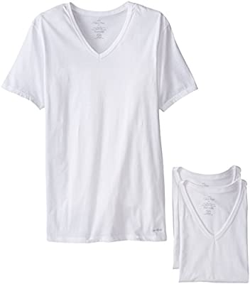 Calvin Klein Men's Cotton Classics Short Sleeve V-Neck T-Shirt, White, Large