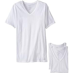 Calvin Klein Men's Undershirts Cotton Classics 3 Pack Slim Fit V Neck Tshirts, White, Medium
