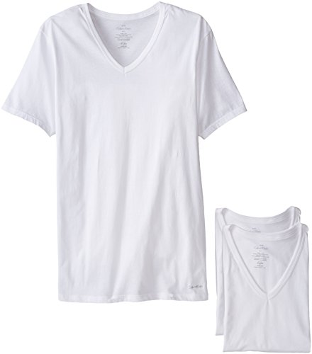 Undershirts V-neck Cotton Mens T-shirts (Calvin Klein Men's Undershirts Cotton Classics 3 Pack Slim Fit V Neck Tshirts, White, Medium)