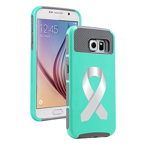 Samsung Galaxy S7 Shockproof Impact Hard Soft Case Cover Diabetes Brain Cancer Parkinson's Disease Lung Cancer Color Awareness Ribbon (Teal Gray)