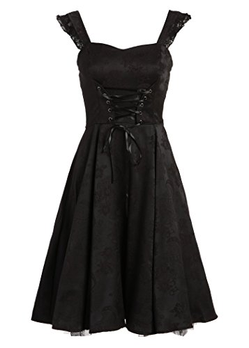 [Black Brocade 50s PinUp Rockabilly Retro Dress with Black Lace – Size Medium] (Black Goth Dress)