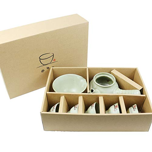 Korea KOYO Handmade Ceramic Ume Flower 7-pcs Kungfu Tea Gift Set Chinese Traditional Teapot Vintage Style Gong Fu Tea Set in Gift Box