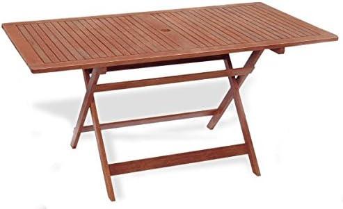 Mesa rectangular plegable 100 x 70 x 72 mesa de jardín mod.Madreselva (madera keruing a lavorazione artigianale, mesa de madera uso exterior, Mesa (Keruing, mesa plegable de jardín.: Amazon.es: Jardín