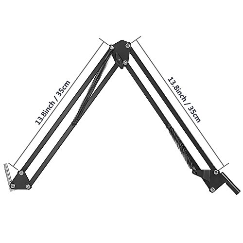 Large Product Image of NEEWER Adjustable Microphone Suspension Boom Scissor Arm Stand, Compact Mic Stand Made of Durable Steel for Radio Broadcasting Studio, Voice-Over Sound Studio, Stages, and TV Stations