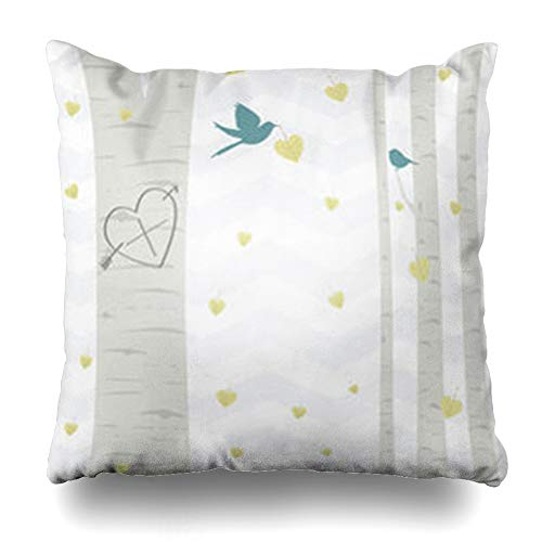 (Pandarllin Throw Pillow Covers Nobody Yellow Nature Love Heart Carved Into Aspen Leaf is Tree Waiting for Your Initials Wildlife Cushion Case Home Decor Sofa Square Size 20 x 20 Inches Pillowcases)