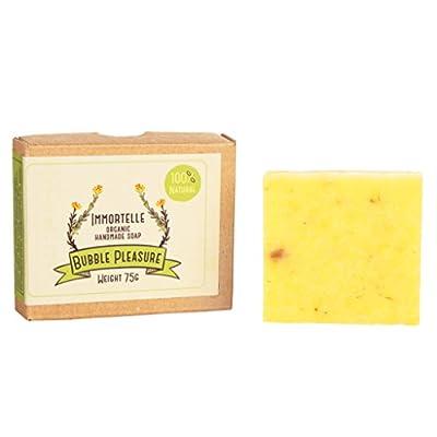 BubblePleasure 100% Organic & Natural Soap Best Pure Immortelle Soap Bar for men, women, kids. Handmade organic soap for skin, face, body, hands