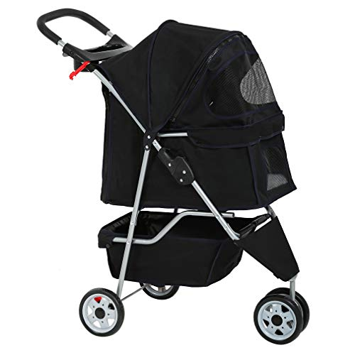BestPet New Pet Stroller Cat Dog Cage 3 Wheels Stroller Travel Folding Carrier (Best Large Dog Stroller)
