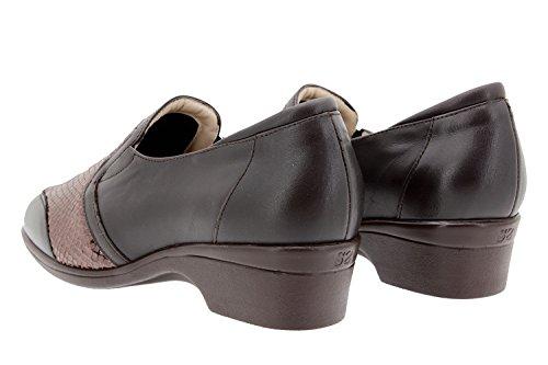 Calzado mujer confort de piel Piesanto 9614 zapato elástico casual cómodo ancho Caoba