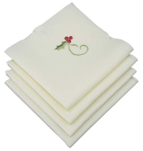 Xia Home Fashions Tartan Ribbon Embroidered Christmas Napkins, 21 by 21-Inch, Set of 4, White