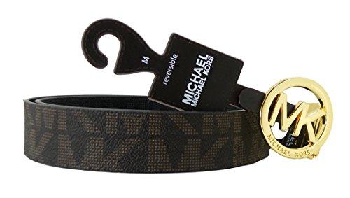 Kors Studded Belt Michael - Michael Kors Mk Signature Monogram Belt and Buckle Reversible, Chocolate, Medium