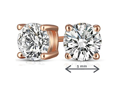 14k Rose Gold Post & Sterling Silver 4 Prong CVD Coated CZ Stud Earrings for Women CZ 1 Carats