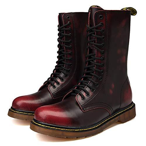 Bottines Plates chaud Bottes Fourrées Chaussures Boots Classiques Femme Rouge Impermeables Botte Hiver De Combat Tqgold Chaudes Cuir En Homme Lacets OwHv0xq7I
