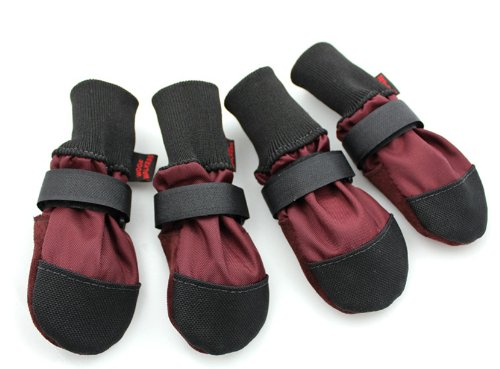 Muttluks Woof Walkers 3.25-Inch to 3.75-Inch Dog Boots, Medium, Burgundy, Set of 4 by Muttluks