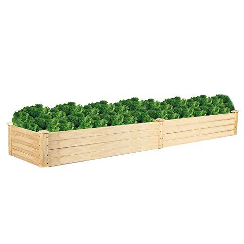 VINGLI Rectangular Raised Garden Bed, Pine Wood Outdoor Patio Backyard Pots Planter for Vegetables Fruits Potato Onion Flower 96Inch x 24Inch x 10Inch