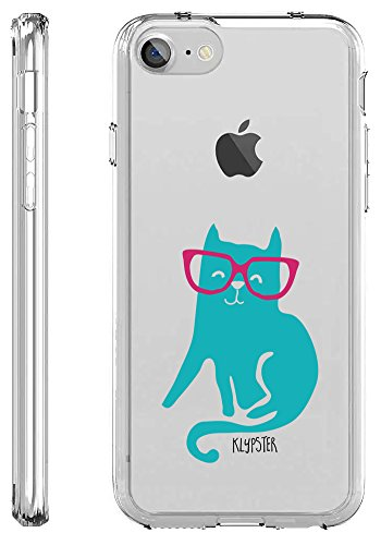 iPhone 7 Case Cool Cute Teal Hipster Cat With Pink Glasses Transparent TPU Plastic Designer Case Cover For Teens Girls Women. Fits iPhone 7 7S [ KlypsterLite (Sexy Outfits Online)