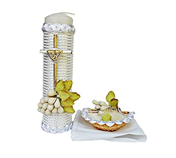 Handmade Catholic Baptism Kit including Towel, Candle and Shell Kit De Bautizo Religious Gift (