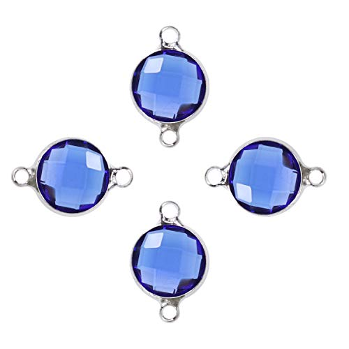 Healifty Cabochon Connector with Double Bail Connector Round Charm Bulk for Jewelry Making 40pcs (Dark Blue)