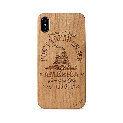 iPhone Xs Max Case, CaseYard Protective, Hybrid, Lightweight, Fashionable iPhone Xs Max Slim Wood Case, Made in California (iPhone Xs Max) (Cherry) Don't Tread On Me