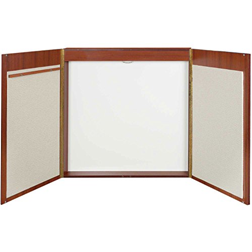 MasterVision 4-in-1 Conference Cabinet with Dry Erase Surface, Projection Screen, Bulletin Boards & Easel Pad Holder, 4' x 4', Cherry (CAB00000011)