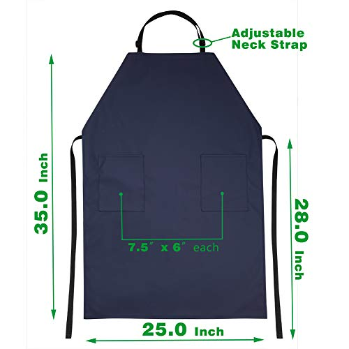 Waterproof Rubber Vinyl Apron with 2 Pockets - Chemical Resistant Work Cloth - Adjustable Bib Butcher Apron - Best for DishWashing, Lab Work, Butcher, Dog Grooming, Cleaning Fish (Blue) by VWELL (Image #5)