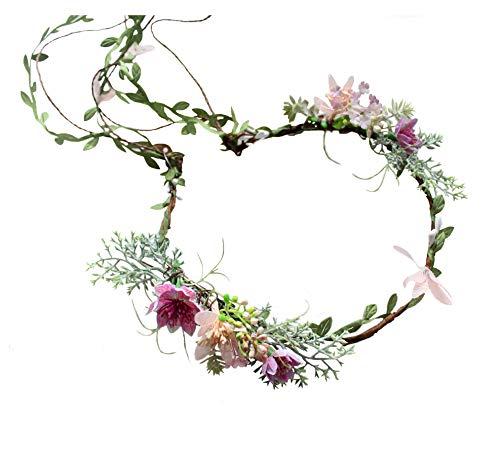 r Crown Boho Flower Headband Hair Wreath Floral Headpiece Halo with Ribbon Wedding Party Photos Festival ()