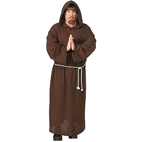 Adult Friar Tuck Deluxe Hooded Monk Robe Costume,Mens X-Large -