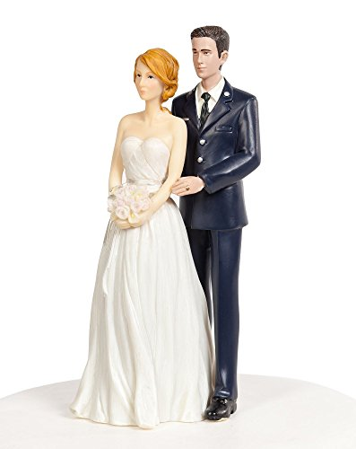 Wedding Collectibles Air Force Military Wedding Cake Topper - Caucasian Bride and Groom (Wedding Force Air Cake)