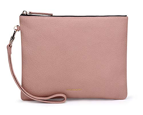 Soft Genuine Lambskin Leather Wristlet Clutch for Women Designer Large Wallets With Strap Goat Leather-pink