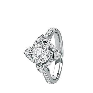 18K White Gold 4 Prong Setting Side Stone Halo Engagement Ring Size - 6