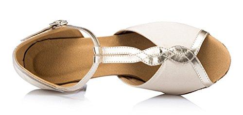 Meijili - Zapatos con tacón mujer blanco crema