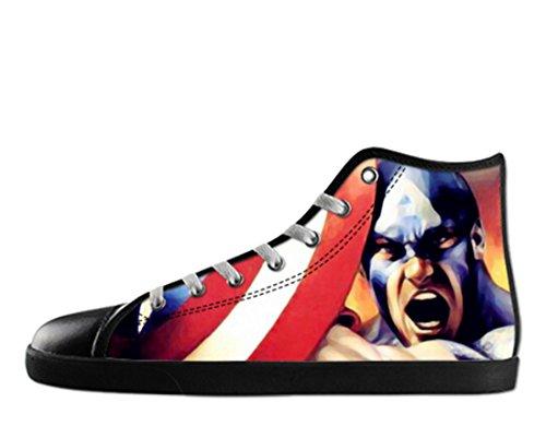 Heren Canvas Hoge Schoenen Captain America Thema Kapitein Canvas Shoes09