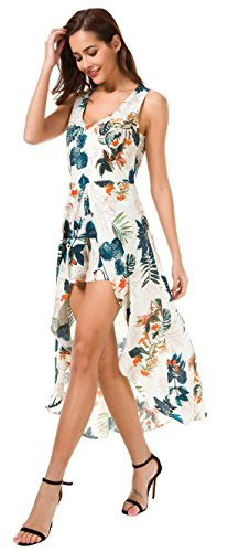 df4cf454974 KorMei Womens Sleeveless Scoop Neck Floral Rayon Party Split Maxi Romper  Dress XS Apricot Blue