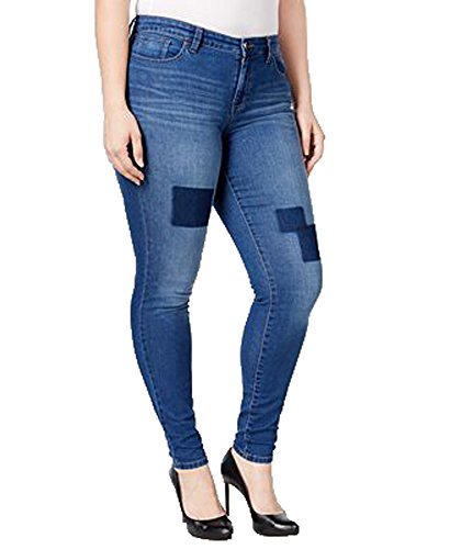 Style & Co. Womens Plus Tummy Control Baked Creases Slim Leg Jeans Blue 16W