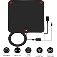 TV Antenna,SMALLRT Mini 50 Miles Indoor HDTV Digital Antenna with Detachable Amplifier Signal Booster and 16 FT Coaxial Cable for Viewing Local Channels