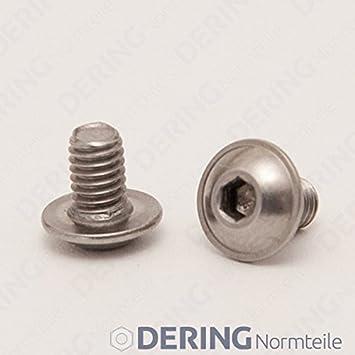 Vollgewinde Innensechskant DERING Linsenkopfschrauben M5 X 35//35 mit Flansch ISO 7380 | Flachkopfschrauben Edelstahl A2 2 St/ück rostfrei
