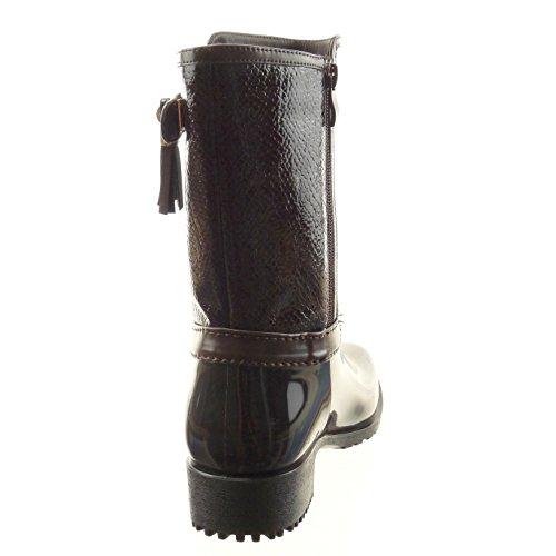 Sopily - Scarpe da Moda Stivaletti - Scarponcini Stivali - Scarponi stivali pioggia donna pelle di serpente fibbia Tacco a blocco 3.5 CM - soletta sintetico - foderato di pelliccia - Marrone