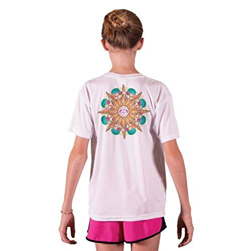 SAND.SALT.SURF.SUN. Orange Shells Youth UPF 50+ Sun Protection Short Sleeve T-Shirt Small White (Shell Microfiber Youth)