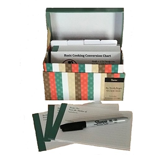 91 Piece Recipe Box and Card Bundle Set - Striped. The Perfect Recipe Card Holder! (Box Recipe And Cards)